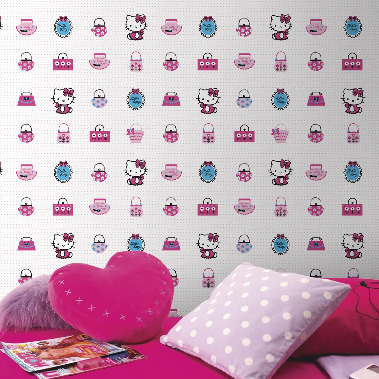 papier peint papier hello kitty rose leroy merlin. Black Bedroom Furniture Sets. Home Design Ideas