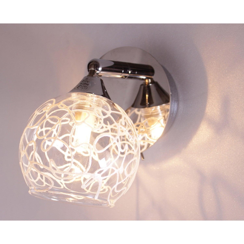 spot pat re sans ampoule 1 x g9 chrome snowy leroy merlin. Black Bedroom Furniture Sets. Home Design Ideas