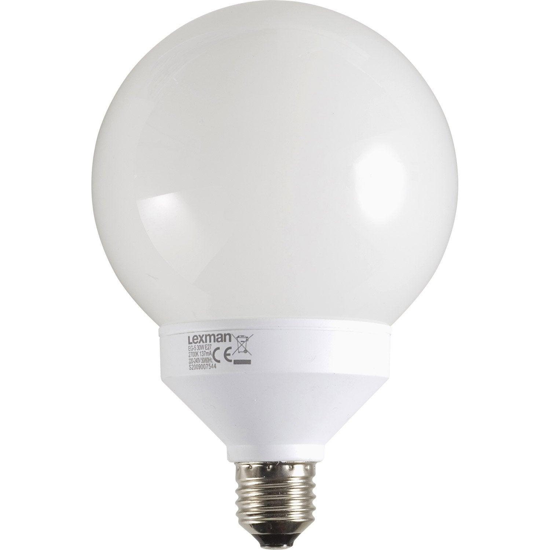Ampoule globe conomie d 39 nergie 30w lexman e27 lumi re for Changer ampoule garage
