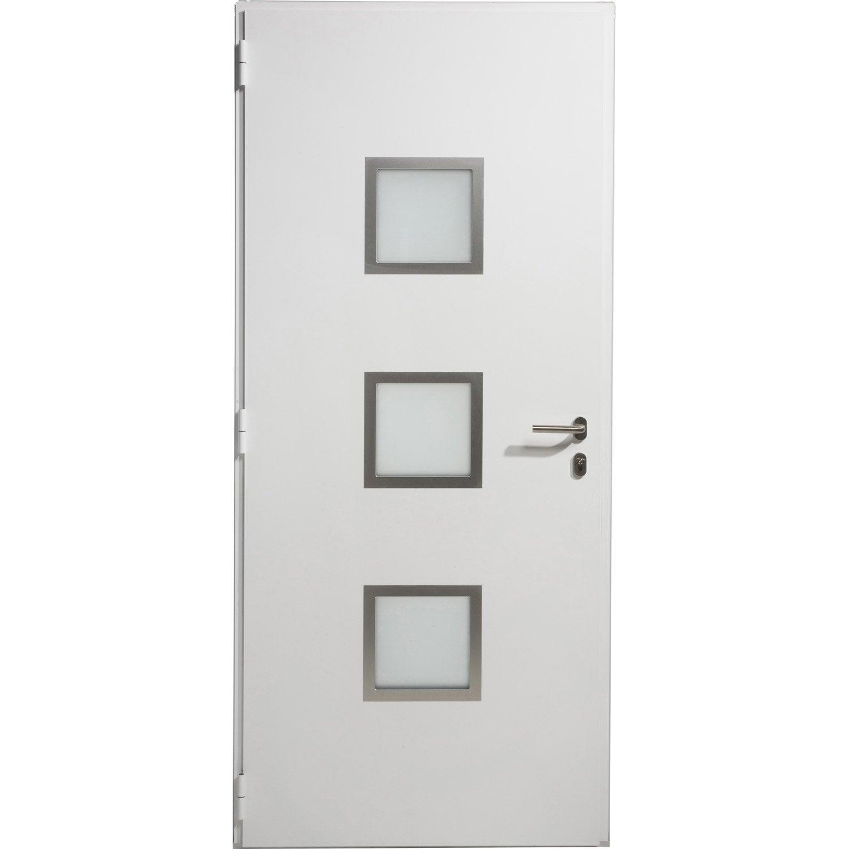 Porte d 39 entr e aluminium seattle artens poussant droit x cm - Leroy merlin porte entree alu ...