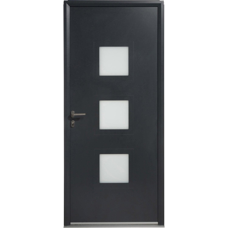 Porte d 39 entr e aluminium phenix artens poussant droit h215 - Porte entree alu leroy merlin ...