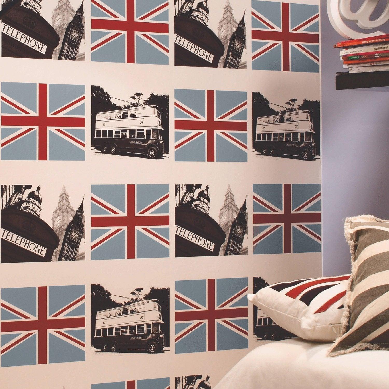 papier peint papier londres multicouleur leroy merlin. Black Bedroom Furniture Sets. Home Design Ideas