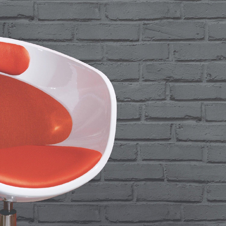 Papier peint papier brique loft gris leroy merlin for Salle de bain briquette