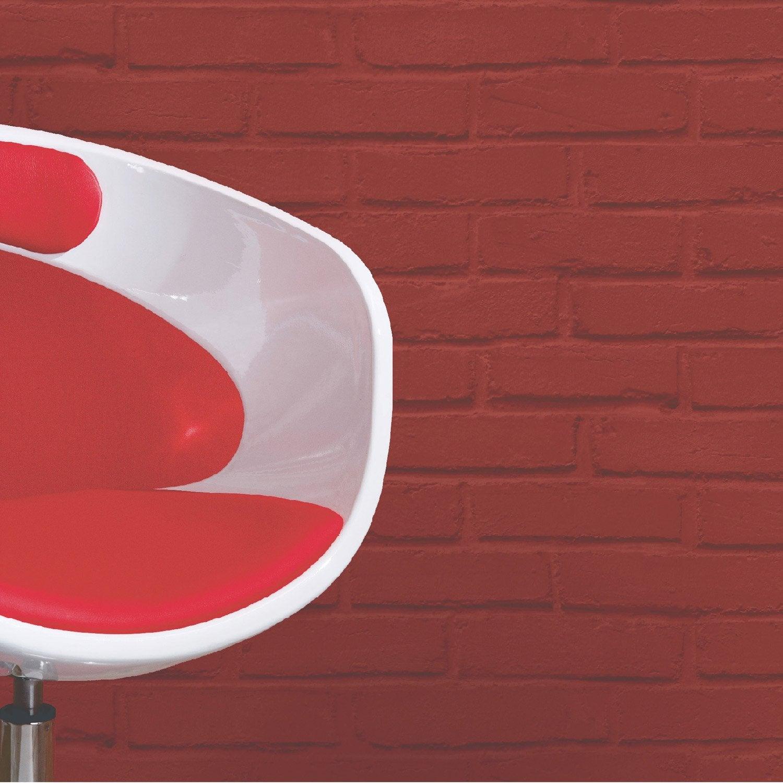 Papier peint sur papier inspire brique loft rouge larg m leroy merlin - Papier peint briques rouges ...