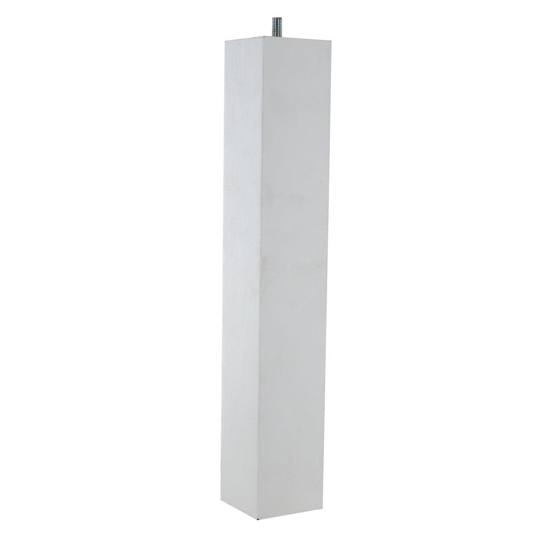 Pied de table basse carr fixe h tre laqu blanc 36 cm for Table basse trois pieds
