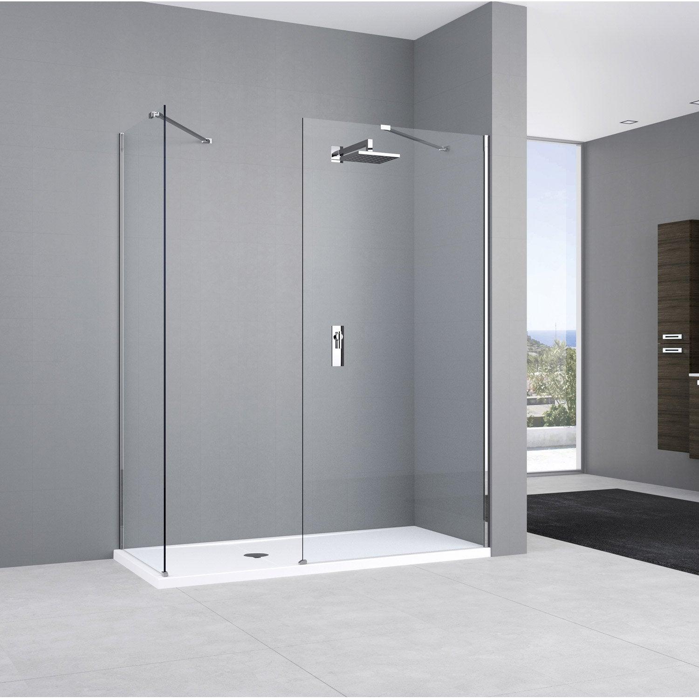 Paroi de douche l 39 italienne elisea espace profil chrom cm - Panneau douche italienne ...