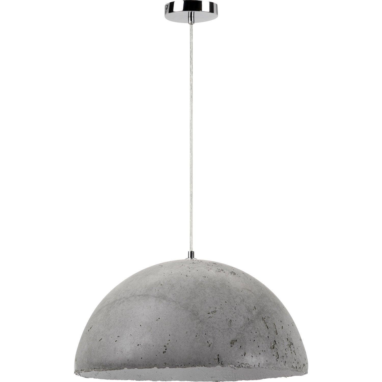 suspension design mineral b ton gris 1 x 60 w mathias leroy merlin. Black Bedroom Furniture Sets. Home Design Ideas