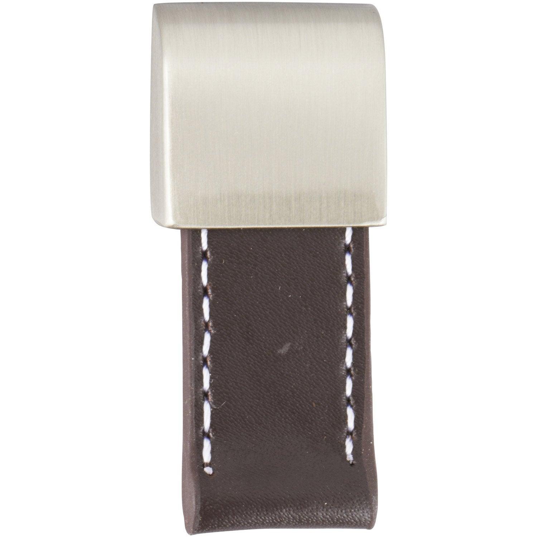 Bouton de meuble en cuir bross s rie tirette leroy merlin for Poignee de meuble en cuir