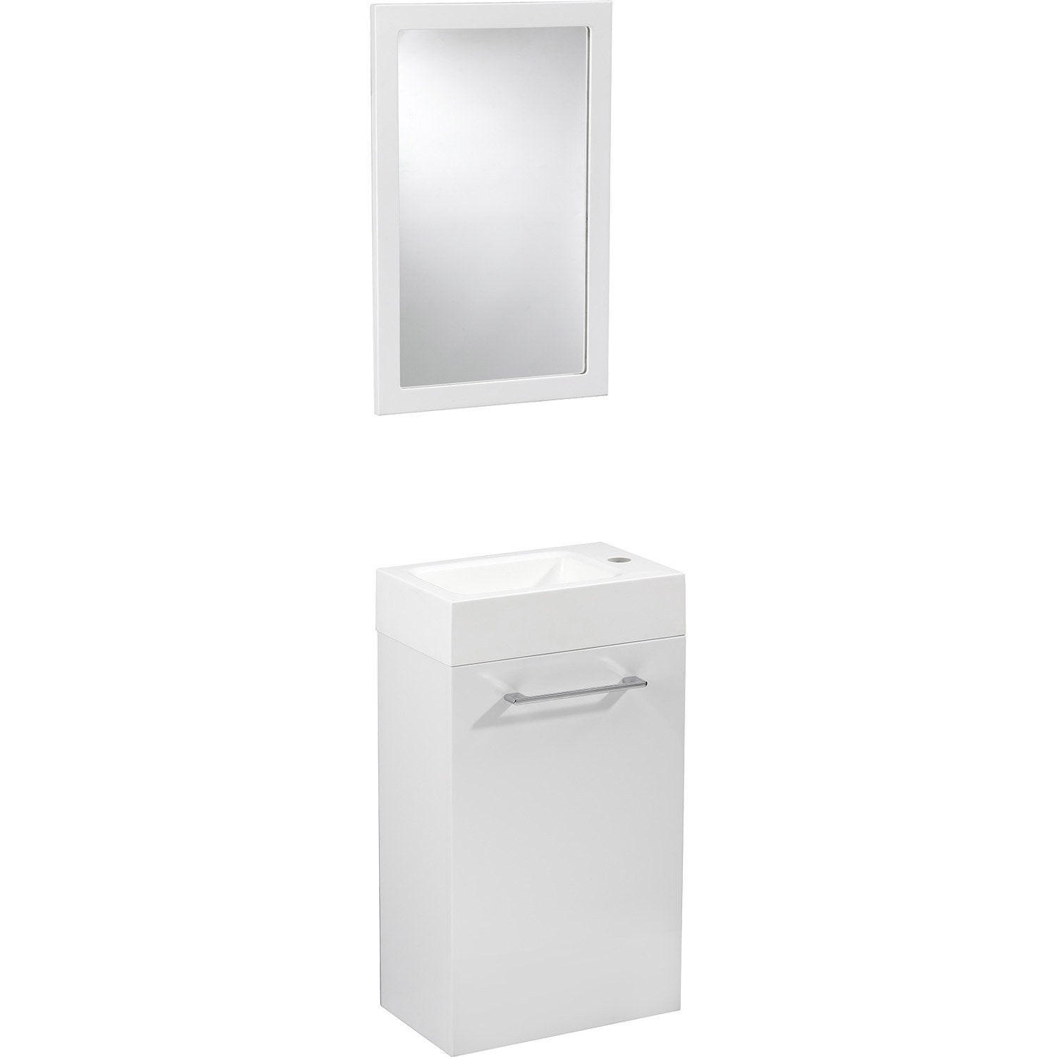 Meuble lave mains avec miroir blanc blanc n 0 sensea for Mobile remix leroy merlin