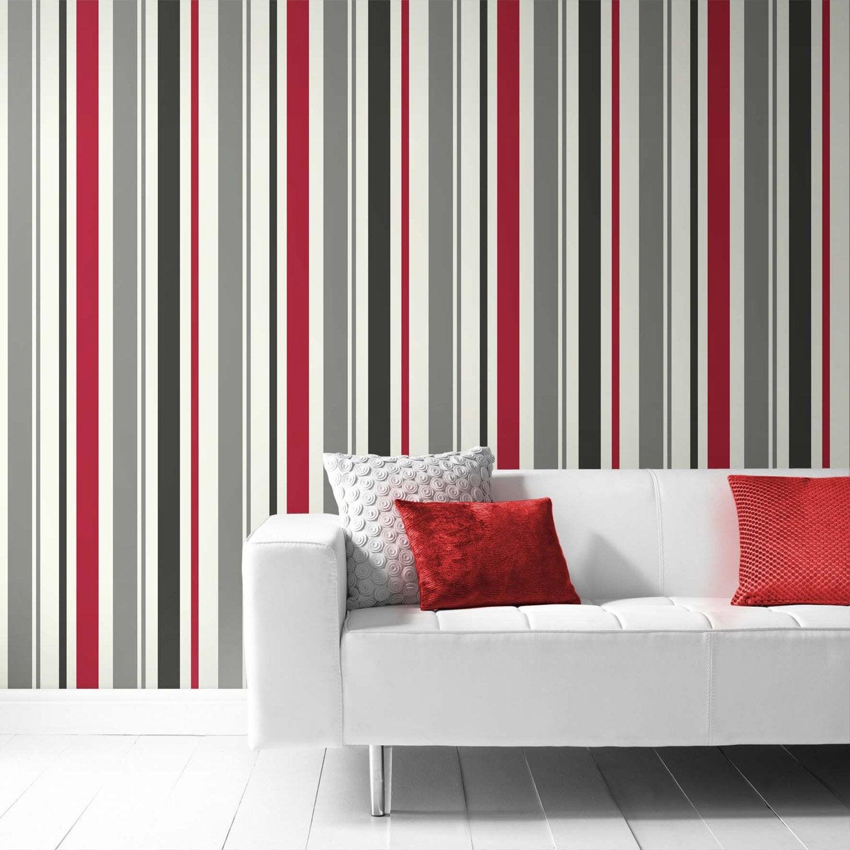 Papier peint vinyle sur intiss inspire rayure rouge for Papier peint vinyle intisse cuisine