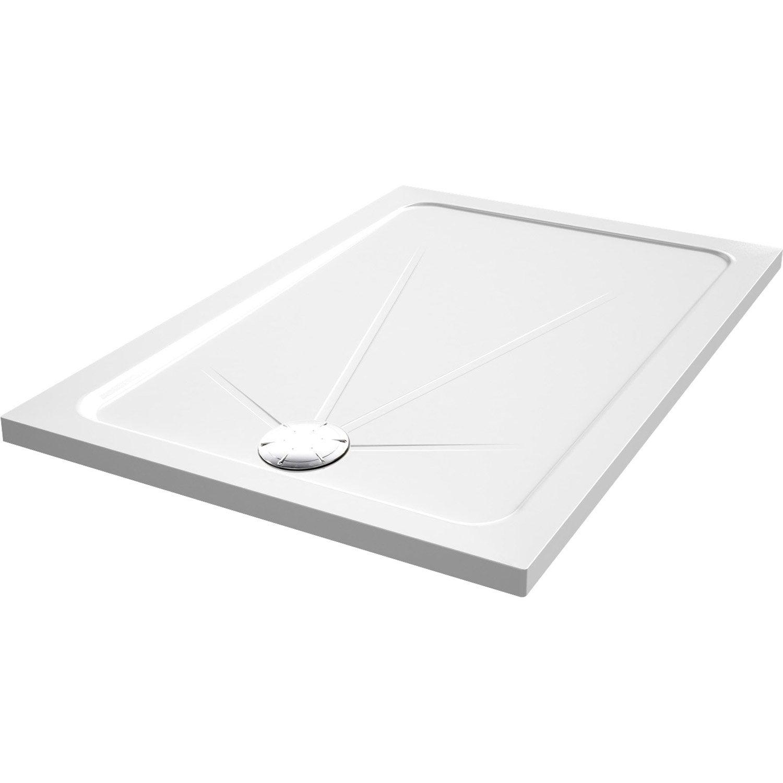 Receveur de douche rectangulaire x cm acrylique blanc opus leroy merlin - Pose bac a douche acrylique ...