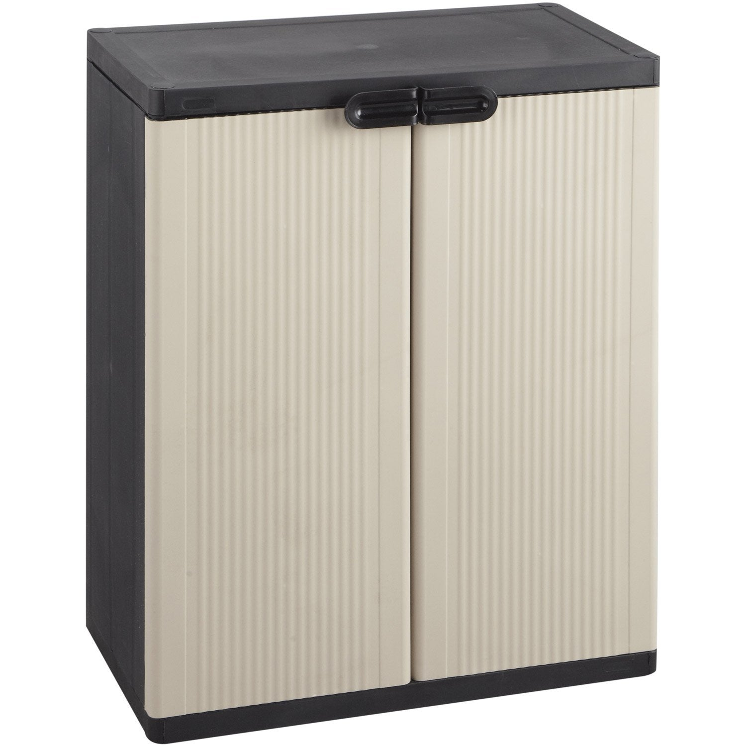 Armoire basse r sine 2 tablettes keter space winner for Armoire en pvc exterieur