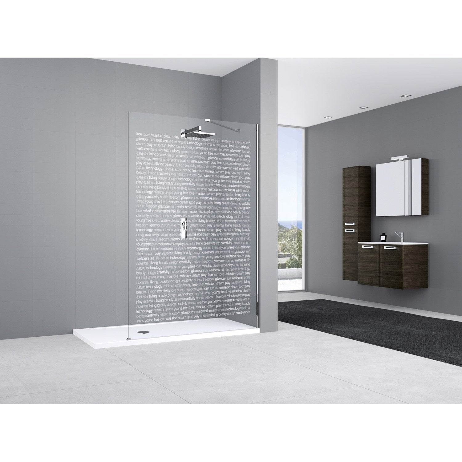 Paroi de douche l 39 italienne elisea profil chrom cm leroy merlin for Photo de douche a l italienne
