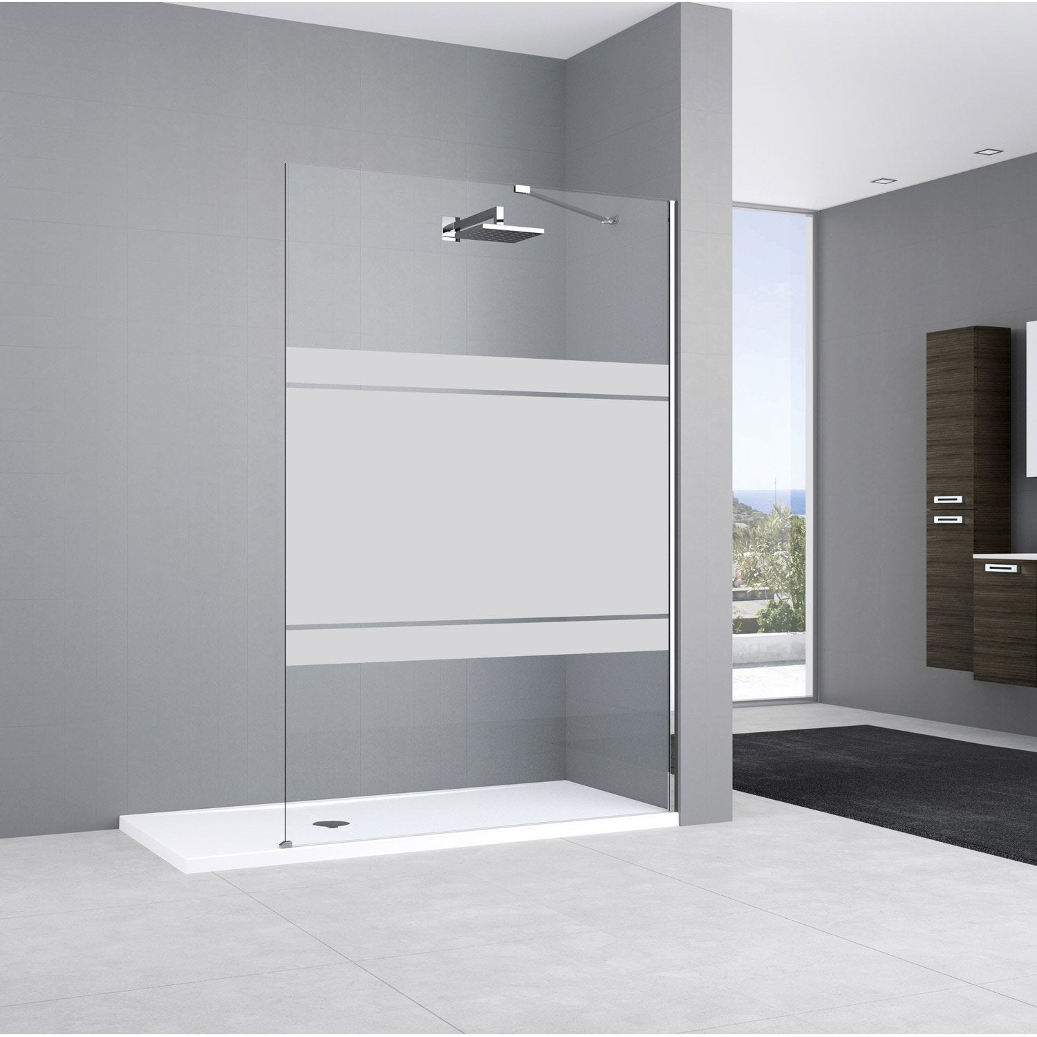 paroi de douche l 39 italienne elisea profil chrom cm leroy merlin. Black Bedroom Furniture Sets. Home Design Ideas