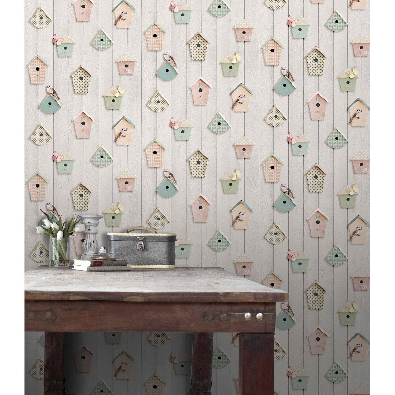 Papier peint papier nichoirs multicouleur leroy merlin - Papier peint imitation bois leroy merlin ...