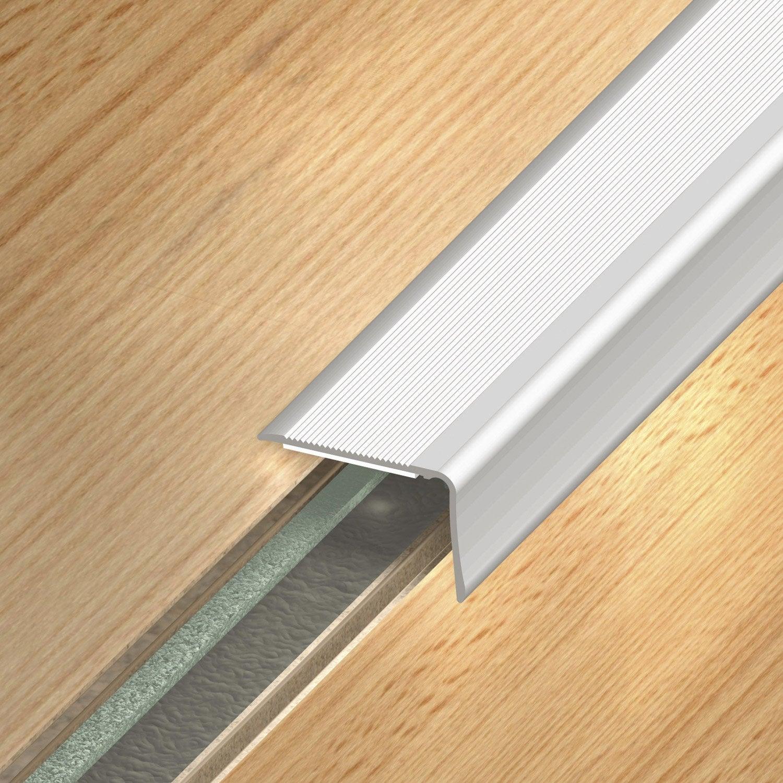 Nez de marche aluminium anodis gris x l 3 6 cm for Barre de seuil pour carrelage