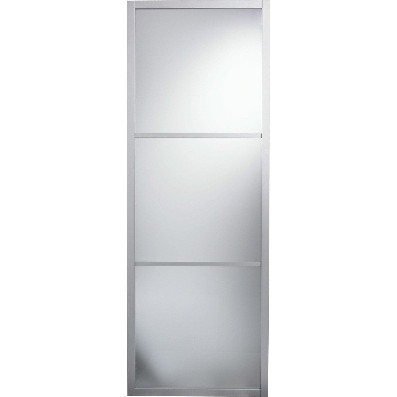 Porte coulissante aluminium aspen gris artens x l for Porte coulissante 93 cm