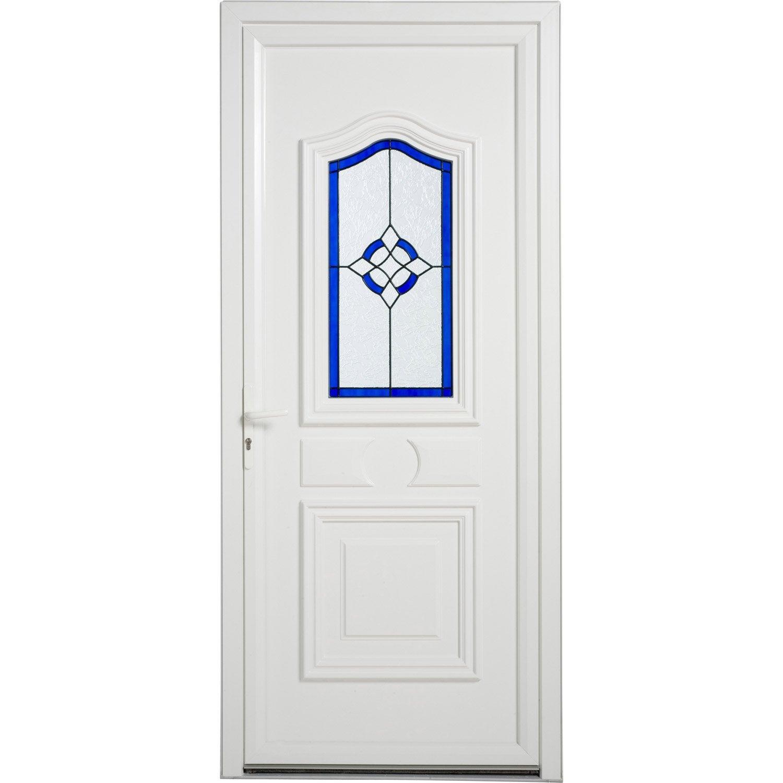 Porte d 39 entr e pvc granada artens poussant gauche h215 x l90 cm leroy m - Leroy merlin porte entree pvc ...