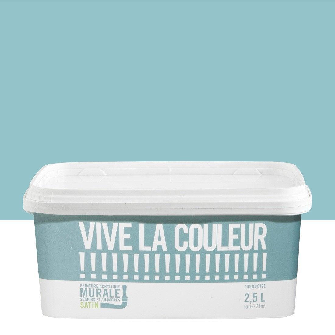 Peinture murale vive la couleur bleu turquoise 2 5 l leroy merlin for Cuisine bleu turquoise leroy merlin