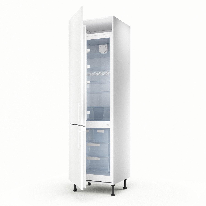 Meuble de cuisine colonne blanc 2 portes d lice x x cm lero - Meuble four leroy merlin ...