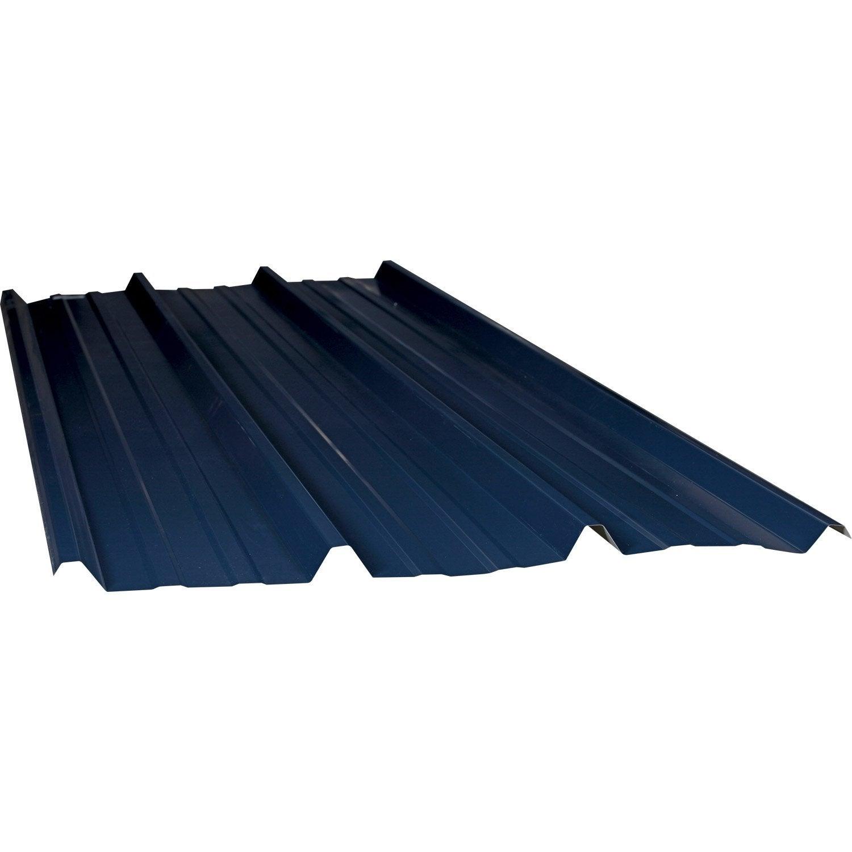 Plaque acier galvanis bleu x 2m adh leroy merlin - Bleu de travail leroy merlin ...