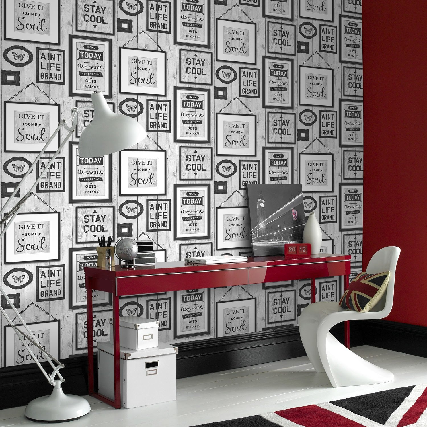 papier peint papier typo loft gris leroy merlin. Black Bedroom Furniture Sets. Home Design Ideas