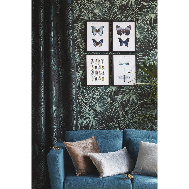 papier peint intiss feuillage vert et noir leroy merlin. Black Bedroom Furniture Sets. Home Design Ideas