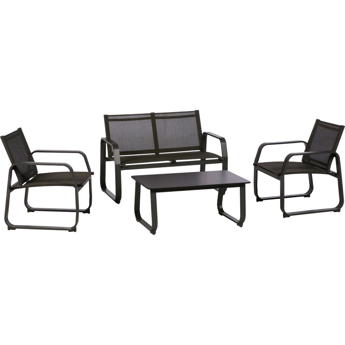 salon bas de jardin gili aluminium anthracite 4 personnes leroy merlin. Black Bedroom Furniture Sets. Home Design Ideas