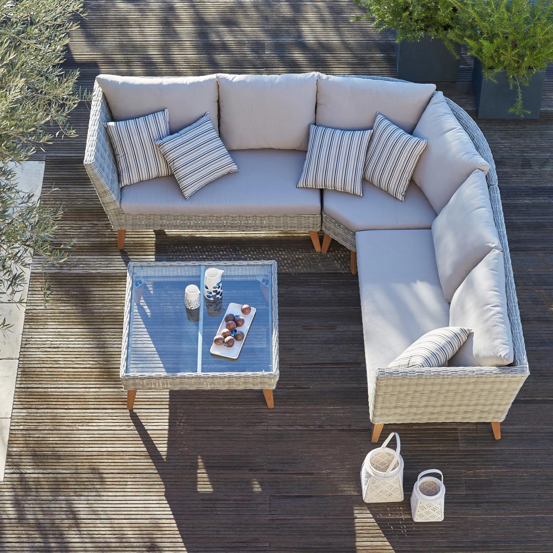 Salon bas de jardin lanzarote r sine tress e taupe 6 - Salon de jardin en resine couleur taupe ...