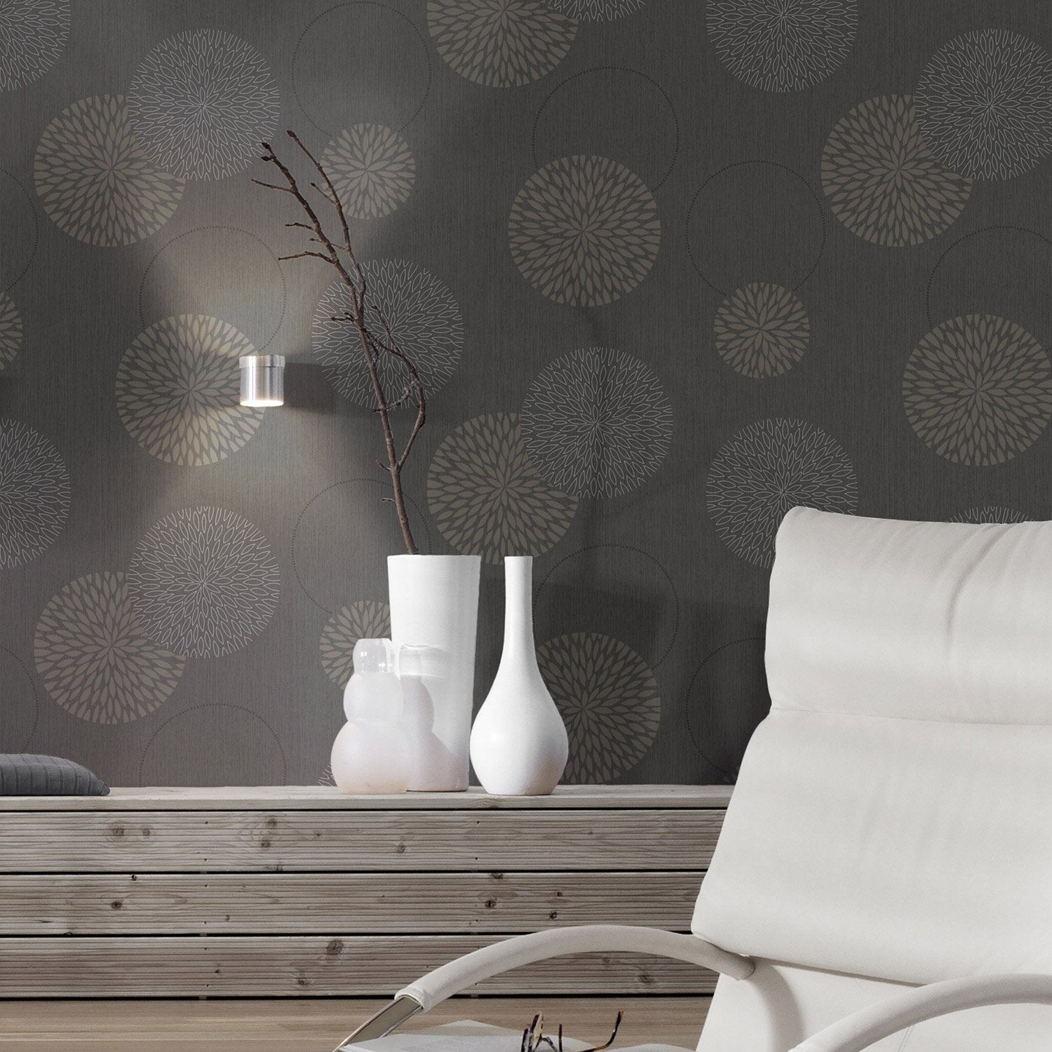 papier peint intiss spot bulles noir leroy merlin. Black Bedroom Furniture Sets. Home Design Ideas