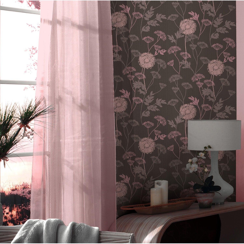 Papier peint vinyle expans sur intiss gramin e marron - Peinture sur papier peint leroy merlin ...