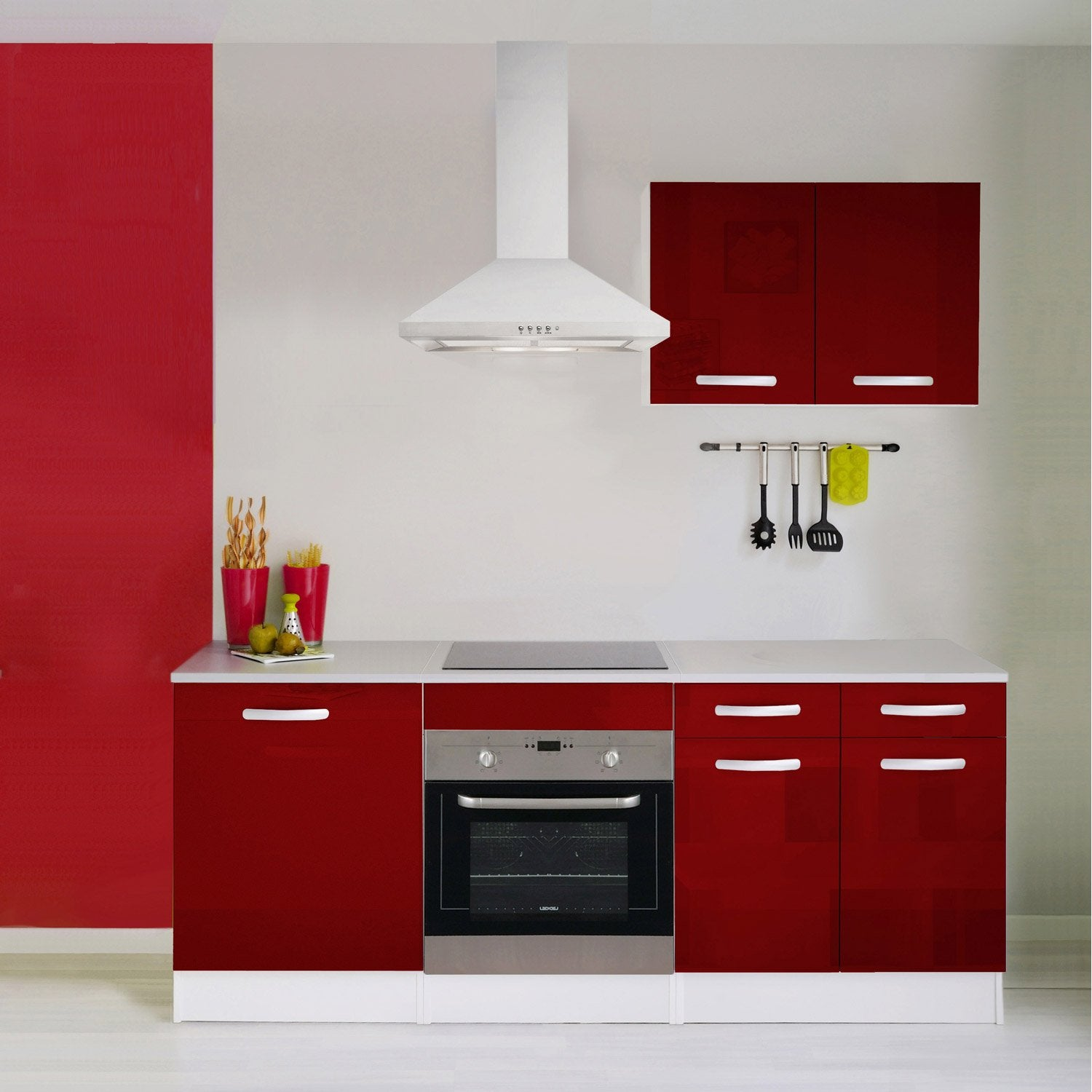 Meuble de cuisine rouge brillant leroy merlin for Carrelage rouge brillant