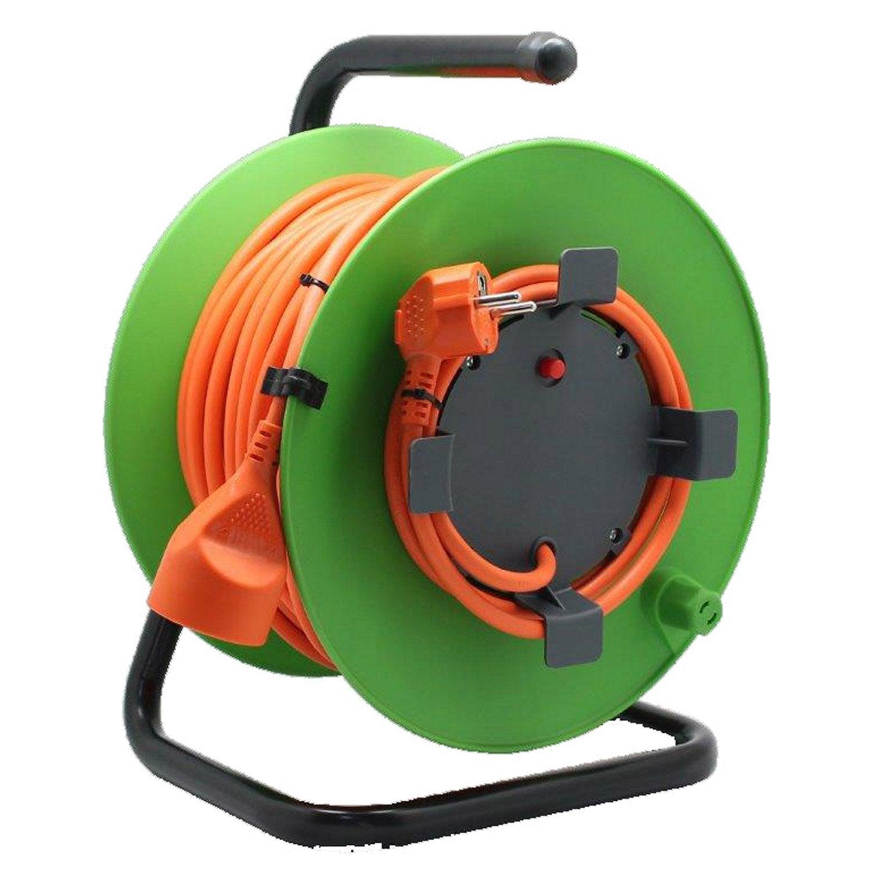 Enrouleur de câble électrique jardin L40 m ELECTRALINE  ~ Enrouleur Cable Bois