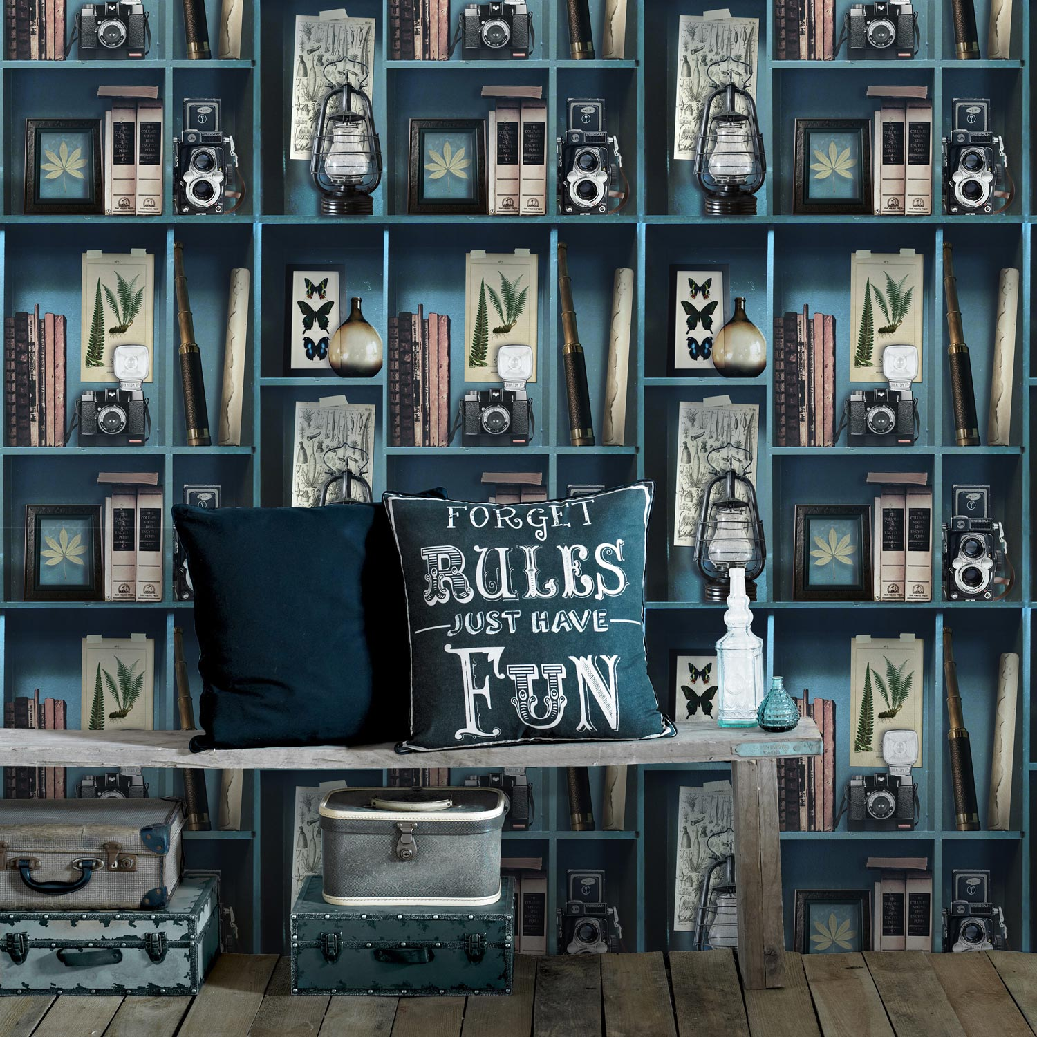 papier peint intiss cabinet de curiosite bleu p trole et. Black Bedroom Furniture Sets. Home Design Ideas
