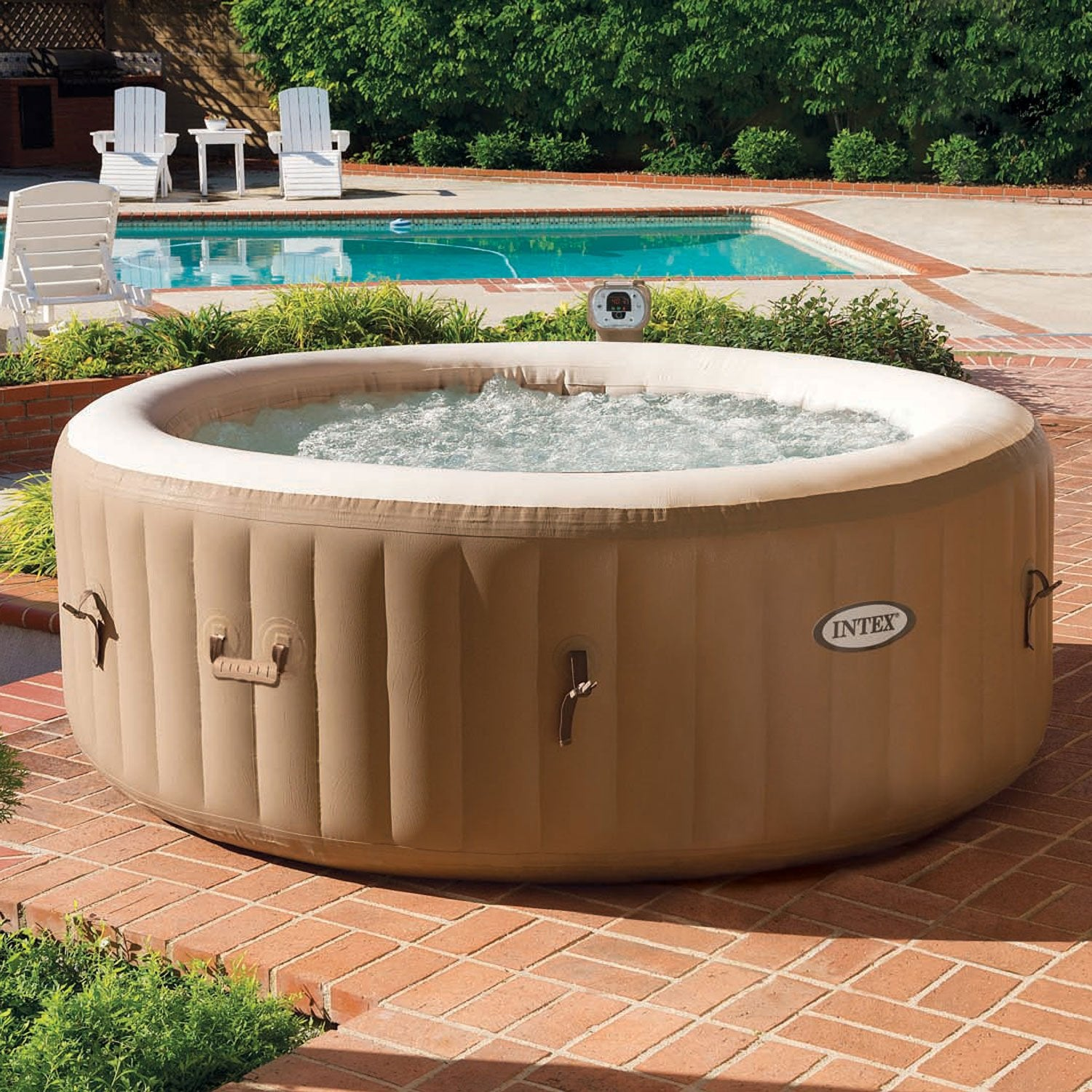 Spa gonflable intex rond 4 places assises leroy merlin - Produit pour jacuzzi gonflable ...