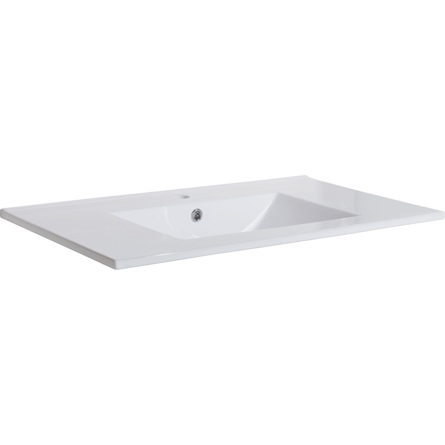 Plan vasque simple sensea dado c ramique blanc l81xl18xp46 for Salle de bain rectangulaire 8m2