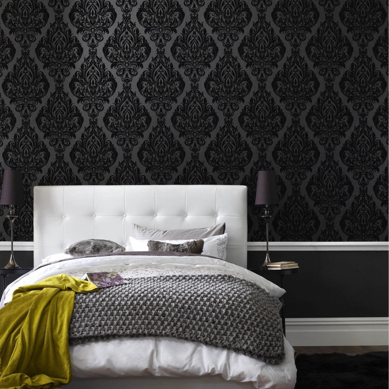 Papier peint intiss kinky vintage noir leroy merlin for Tapisserie tete de lit