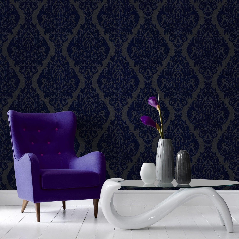 papier peint flock sur intiss kinky vintage bleu larg. Black Bedroom Furniture Sets. Home Design Ideas