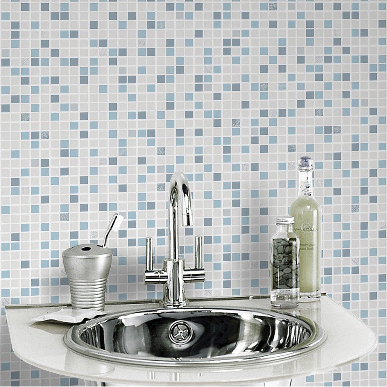 Papier peint papier checker bleu leroy merlin for Tapisserie de salle de bain