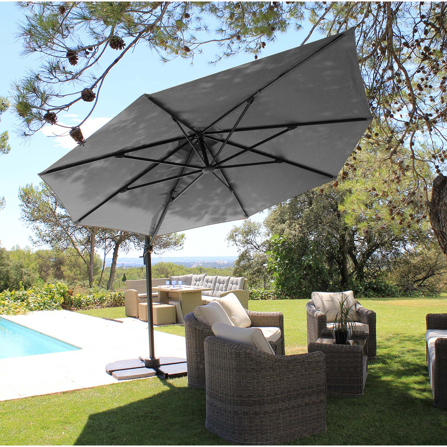ahurissant parasol deporte inclinable leroy merlin renaa conception. Black Bedroom Furniture Sets. Home Design Ideas