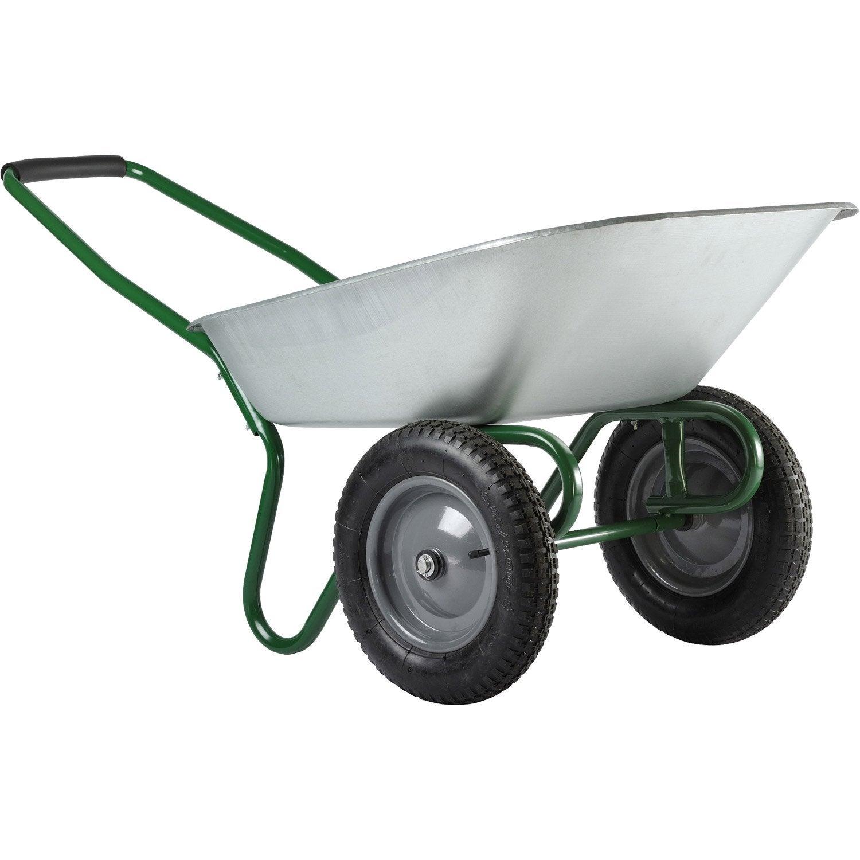 brouette 2 roues deux en acier galvanis haemmerlin 80 l 100 kg leroy merlin. Black Bedroom Furniture Sets. Home Design Ideas