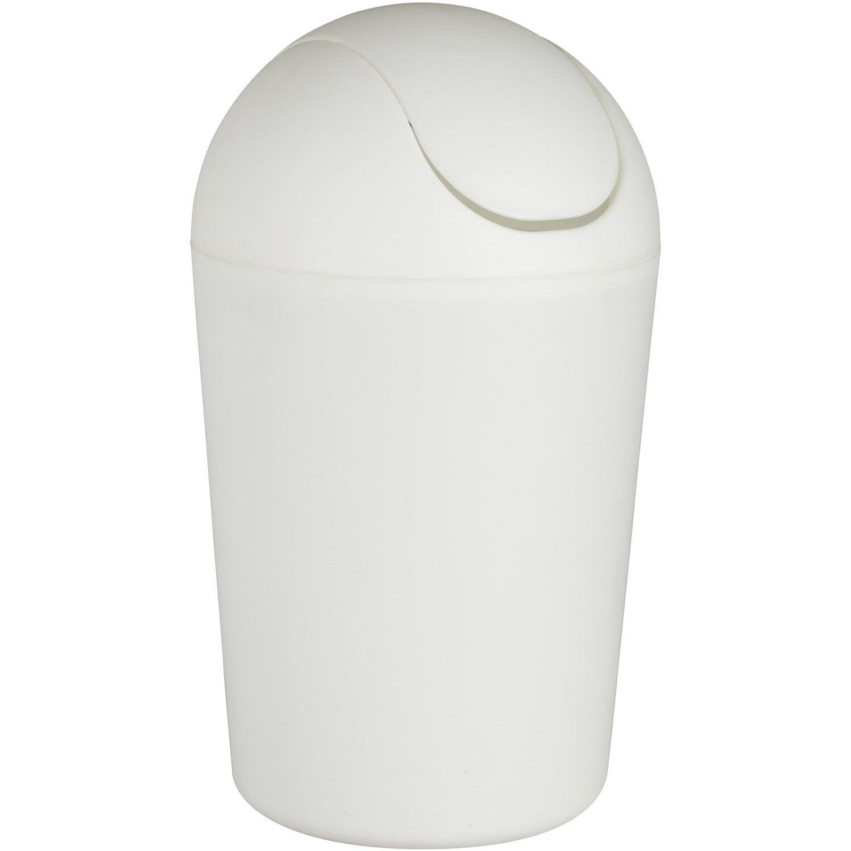 poubelle de salle de bains 5l smart blanc leroy merlin. Black Bedroom Furniture Sets. Home Design Ideas