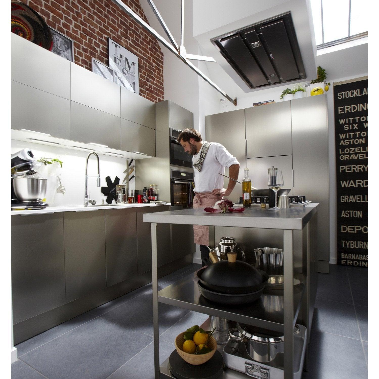 Etag re sous plan de travail de finition inox 60 x 58 cm - Etagere cuisine leroy merlin ...