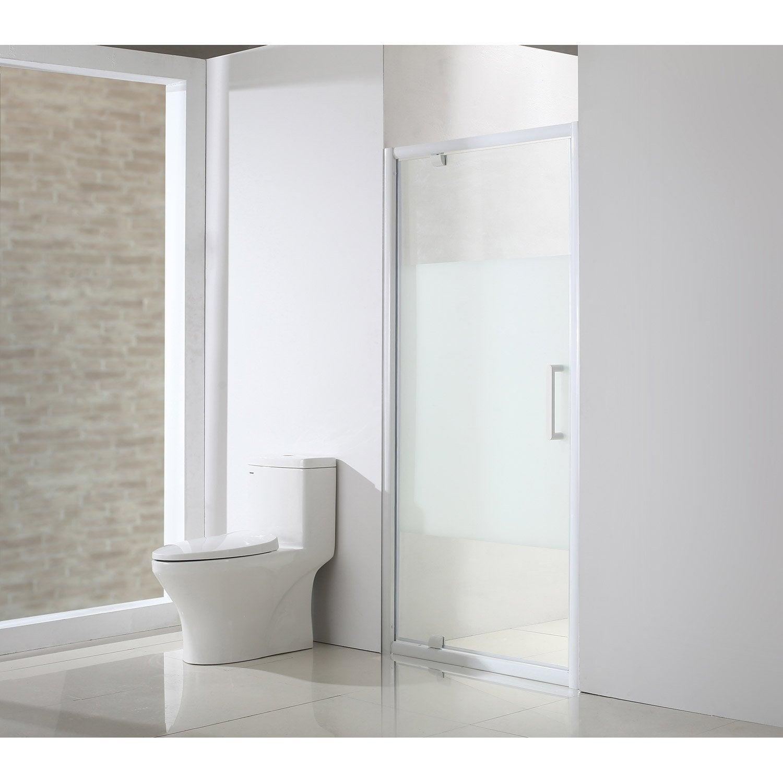 Porte de douche pivotante l 90 5 cm verre s rigraphi - Leroy merlin porte en verre ...