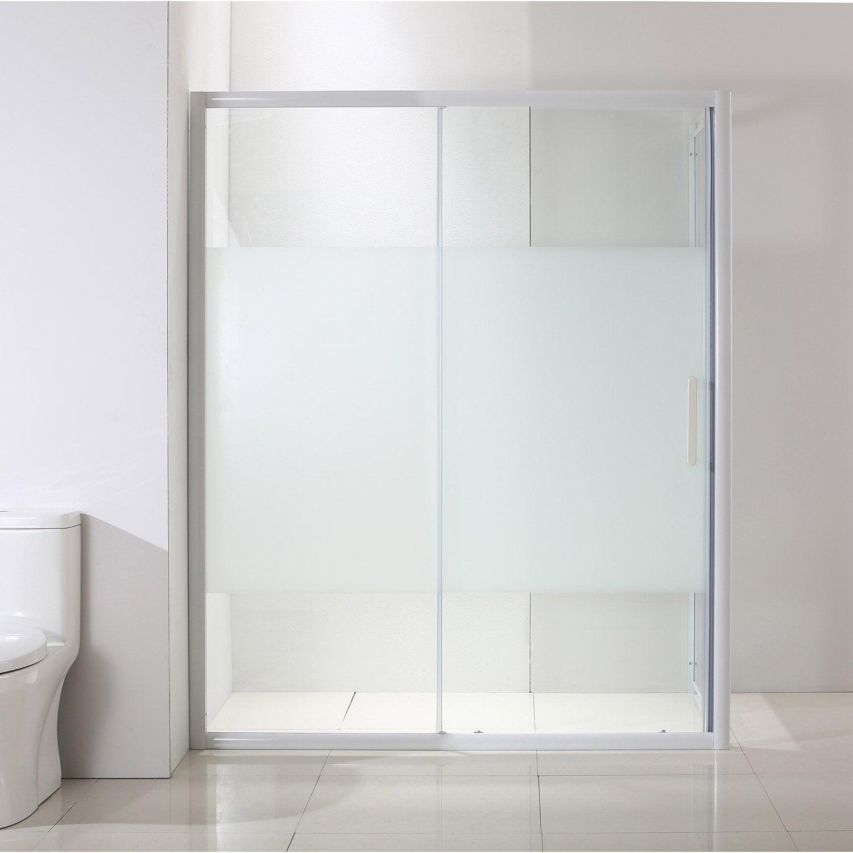 Porte de douche coulissante 97 5 100 5 cm profil blanc quad leroy merlin - Porte de douche coulissante 100 ...
