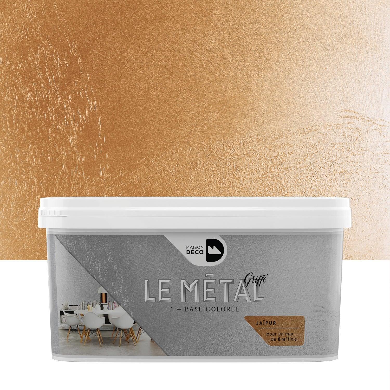 Peinture effet le m tal griff maison deco ja pur 2 l - Leroy merlin peinture effet metal ...