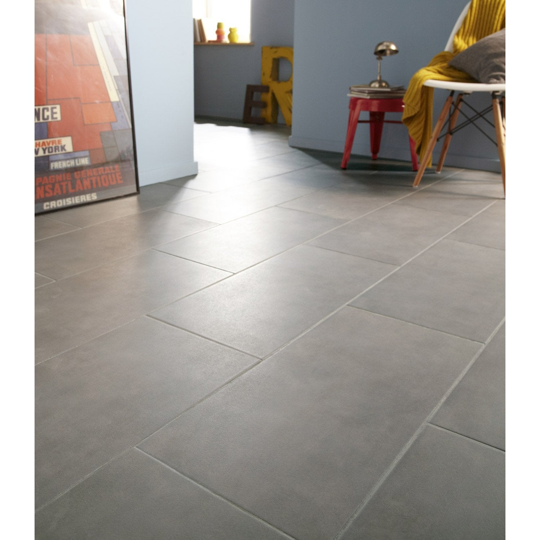 Carrelage sol et mur gris poivr effet b ton kiosque x cm leroy merlin - Carrelage gris mur taupe ...
