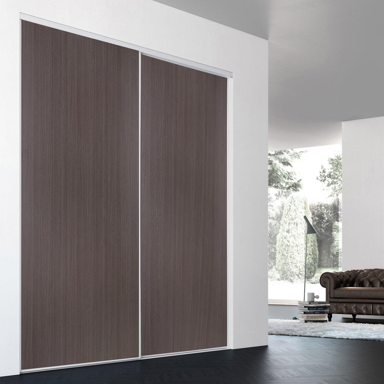 Porte de placard coulissante sur mesure iliko classic de 80 1 100 cm lero - Verre trempe sur mesure leroy merlin ...