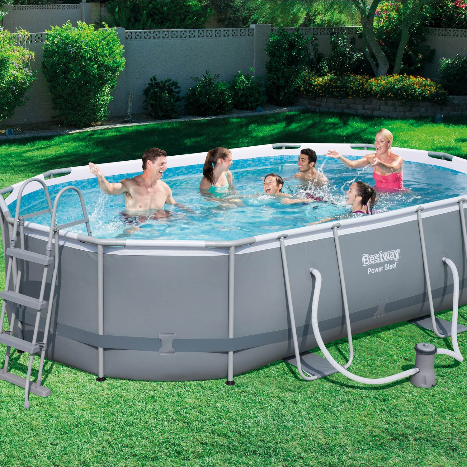 Piscine hors sol autoportante tubulaire bestway l x for Piscine de jardin gonflable