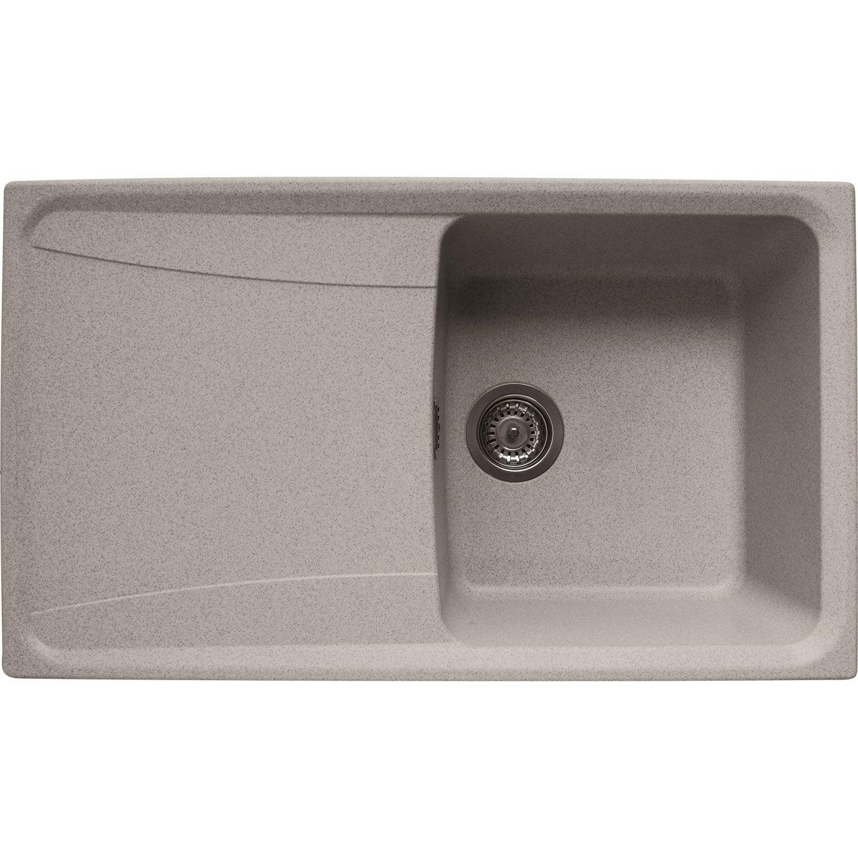 Evier encastrer granit et r sine beige roxana 1 bac for Evier encastrable ceramique